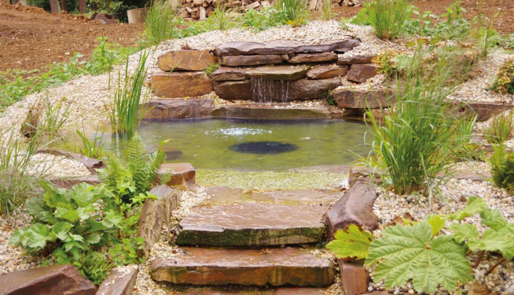 Réalisation de bassin aquatique en pierre de Beauchamps extraite de la carrière du Rocher Blin