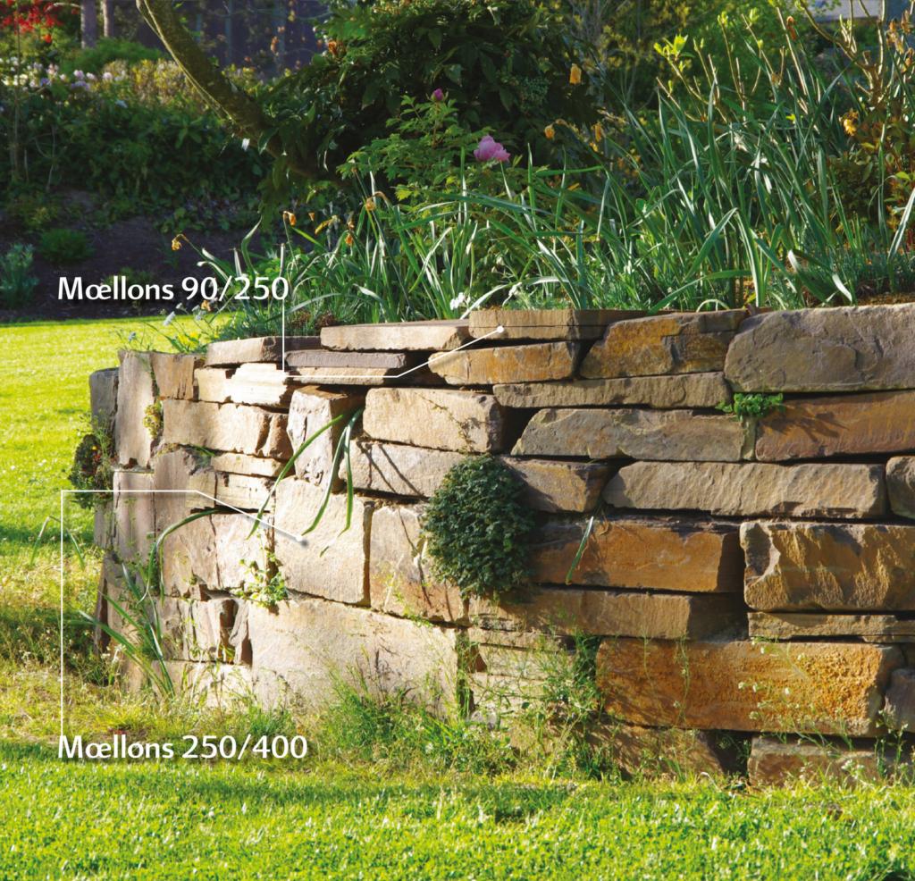Muret à l'ancienne en pierres de Beauchamps